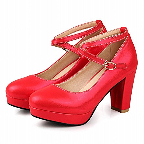 MissSaSa Damen modern und elegant high-heel Plateau Low-cut cross Riemchen Schnalle Pumps Rot