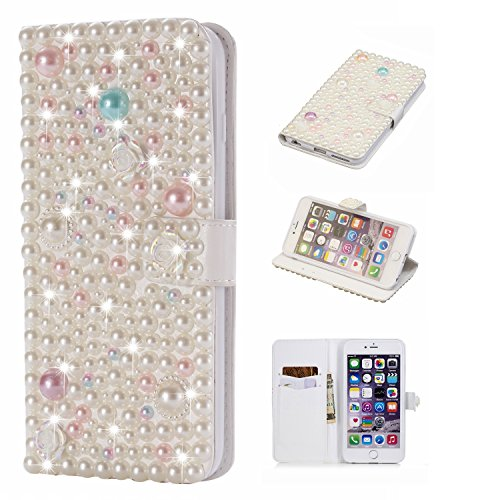(Bling Diamond Wallet Case for iPhone 6 Plus,Gostyle iPhone 6S Plus Handmade 3D Shiny Glitter Crystal Rhinestone Leather Flip Stand Cover with Credit Card Slots Magnetic Closure,Pearl & Lotus Floral )