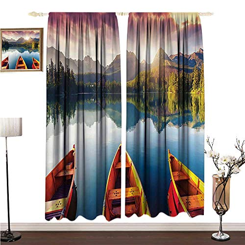 Anshesix Half Blackout Curtains: Cottage Decor Collection Mountain Lake Strbske in National Park at High Tatras Slovakia Dramatic Sky and Boats View W96 xL108 Durable ()