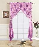 WPM Princess palace pink purple window curtain set: 2 panels + 2 tie backs for kids/girls room (Window Curtain Set)