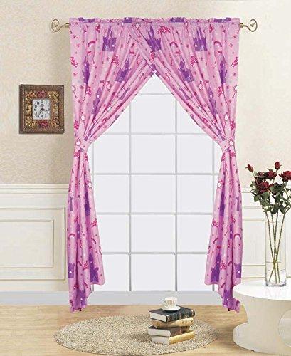 (WPM Princess palace pink purple window curtain set: 2 panels + 2 tie backs for kids/girls room (Window Curtain)