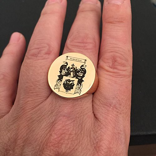 Family Crest ring, Personalized Signet Engraved Ring, college graduation ring, Gold Round Seal, Size 4-13 us