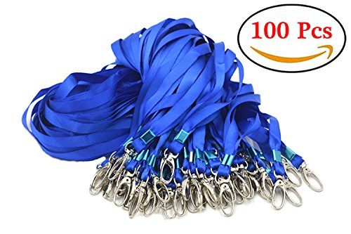 Aobear 100pcs 32 inch Top quality blue Lanyard with Badge Clip Blue Nylon Lanyard