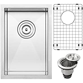 12' Ticor S3610 Pacific Series 16-Gauge Undermount Stainless Steel Single Bowl Zero Radius Square Kitchen Bar Sink with Accessories