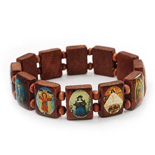 Brown Wooden Religious Images Catholic Jesus Icon Saints Stretch Bracelet - up to 20cm length (Wood Wooden Bracelets)