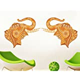 Happy Walls Elephant Pair Mural Good Luck Art In Floral Design In Shades Of Yellow & Mustard Colour /Modern Art Wall Sticker/Decals (5790)