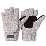 Vmevo Winter Knitted Convertible Fingerless Gloves Unisex Warm Wool Mitten Glove