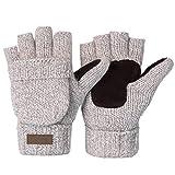Winter Knitted Convertible Fingerless Gloves Wool Mittens Warm Glove for Women and Men
