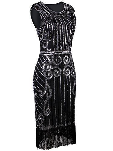 Gatsby Vijiv Black Flapper Dress Sequin Vintage 1920s Inspired Fringe Long Embellished 0w0raRq