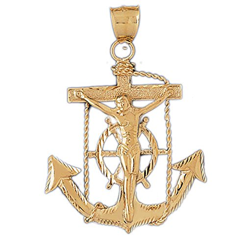 14K Yellow Gold Mariners Cross/Crucifix Pendant Necklace - 66 mm 14k Yellow Gold Mariners Cross