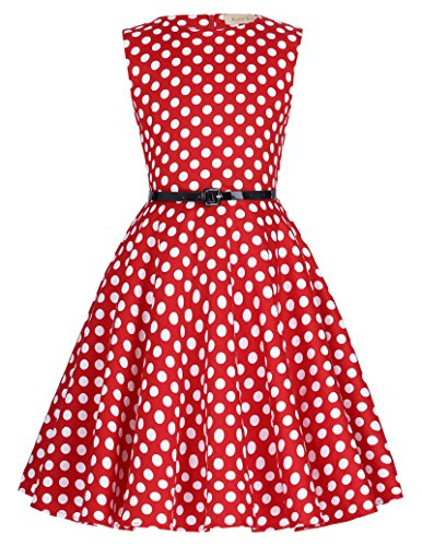 Kids 'Audrey' Vintage Floral Swing Dresses 9-10Yrs Red/white (Floral Dress Dot Polka)