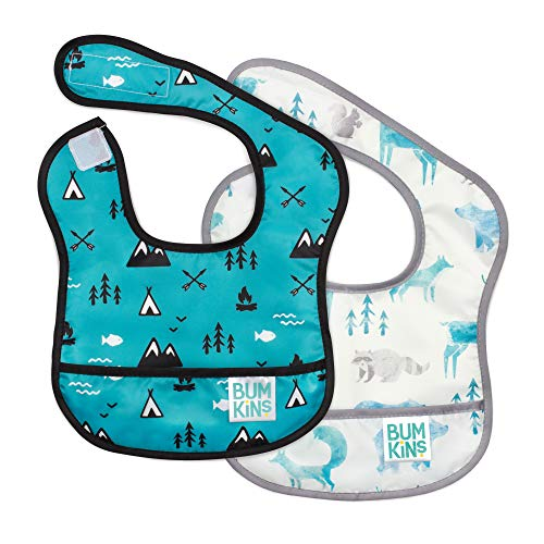 Stain and Odor Resistant Waterproof Washable 2 Bib Pack - Two Design Styles CANDICE Cowboys Baby Bib 6-24 Months,Adjustable Velcro