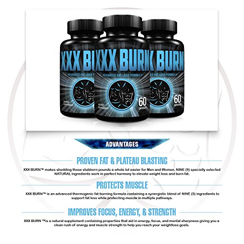 XXX Burn Advanced Thermogenic Fat Burning & Muscle Preserving Supplement For Men & Women. 9 Fat Melting Ingredients For Powerful Weight Loss, Enhanced Focus & Energy. FDA/cGMP Registered Facility.