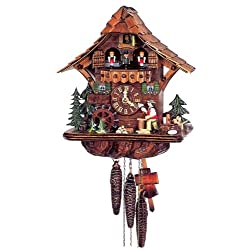 Original One Day Mechanical Movement Cuckoo Clock with Moving Wood Chopper and Mill Wheel 12.5 Inch