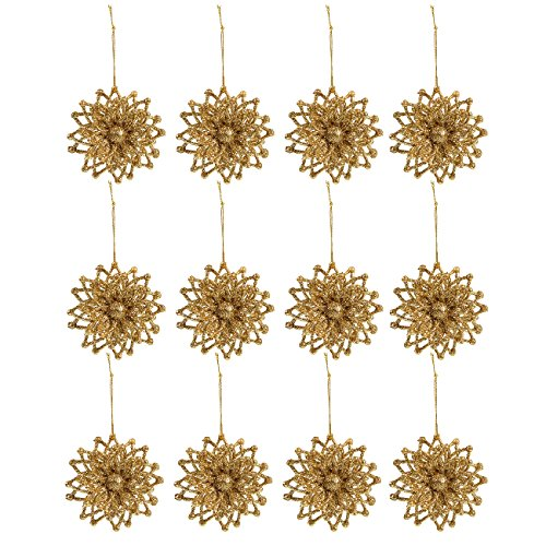 Juvale 12-Pack of Christmas Tree Decorations - Snowflake Decorations, Christmas Ornaments, Festive Embellishments - 3.1 x 3.6 x 1.9 Inches