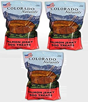 Colorado Naturals Wild Caught Salmon Jerky Dog Treats. Made in USA with 100 Percent 1Lb 3 Pack