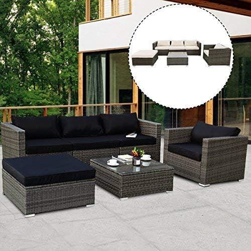 Set de jardín de mimbre Costway 3 piezas, mesa y sillas para patio con cojines para bar de jardín, café, té, desayuno: Amazon.es: Jardín