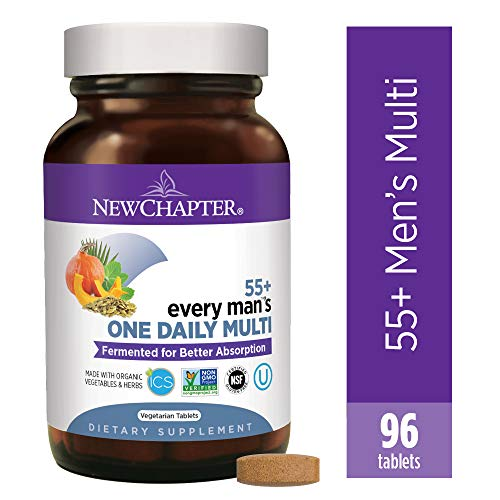 New Chapter Multivitamin for Men 50 Plus - Every Man's One Daily 55+ with Fermented Probiotics + Whole Foods + Astaxanthin + Vitamin D3 + B Vitamins + Organic Non-GMO Ingredients - 96ct (Best Multivitamin For Men Over 70)