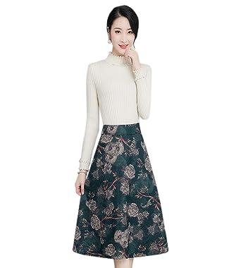Tribear Damen Vintage Winter Herbst Tartan mit hoher Taille Flared röcke  knielange Kleider (XL, f5d9cfaa78