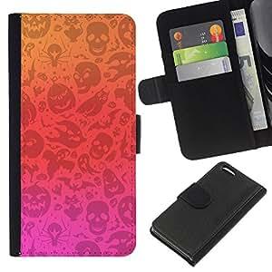 KingStore / Leather Etui en cuir / Apple Iphone 5C / Orange Rouge Rose Automne