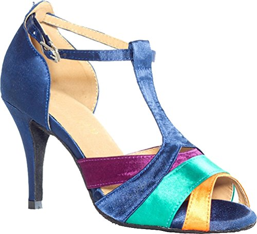 CFP YYC-L019 Womens Sexy Latin Tango Ballroom Professional Flared Heel 3.3'' Peep-toe Satin dance-shoes Blue ygWGhngL