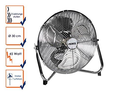 Perel CFANF30N Bodenventilator, Metall, 30 cm Ventilator Durchmesser, 38 cm Höhe, 220-240 VAC, 50 Hz, 55W