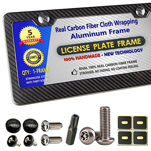 Carbon Fiber License Plate Frame - 100% Real Carbon Fiber Overlays Aluminum License Plate Frames | Stainless Steel Anti-theft License Plate Screws | CF Screw Caps | 1PC Black Gloss Plate Frame