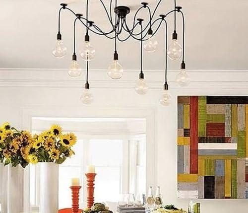 Lightess Vintage Chandeliers Multiple Adjustable DIY Ceiling Spider Pendant Lighting 12 Heads
