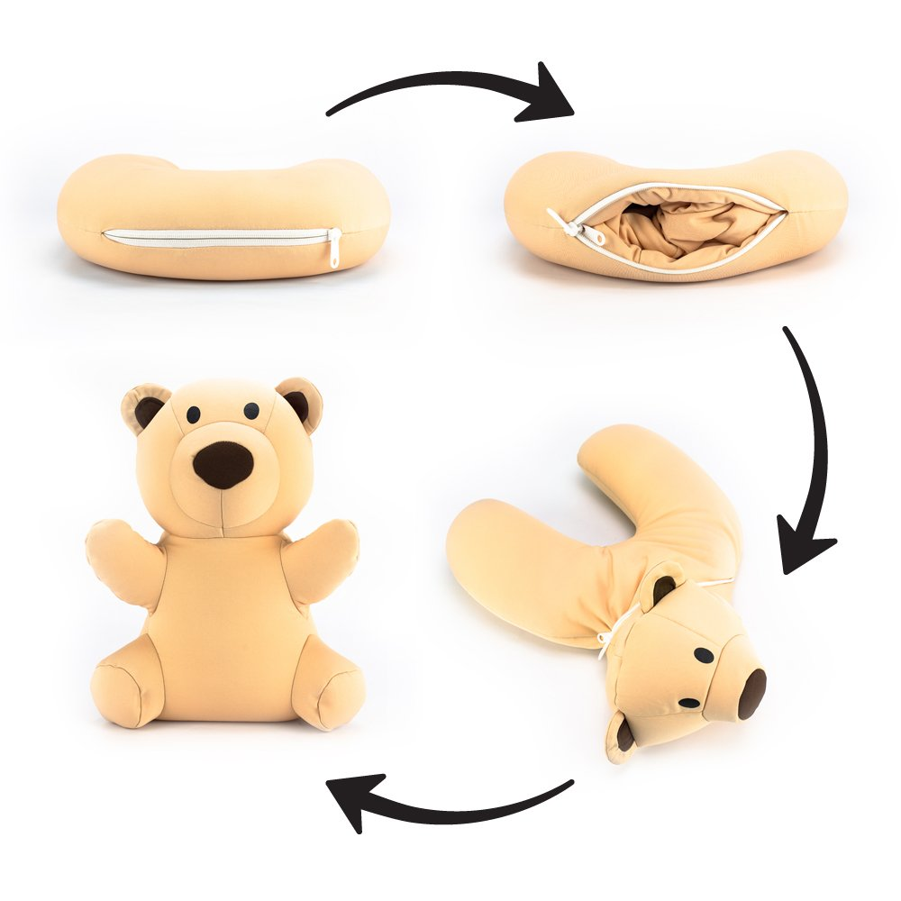 Satellas Teddy Bear Neck Pillow/Stuffed Animal Travel Pal Perfect Travel Pillow for Any Age - Converts from Neck Pillow to Stuffed Animal