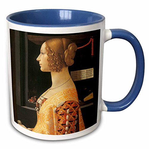 3dRose BLN Italian Renaissance Fine Art Collection - Giovanna degli Albizzi Tornabuoni by Domenico Ghirlandaio - 15oz Two-Tone Blue Mug (mug_127060_11) ()