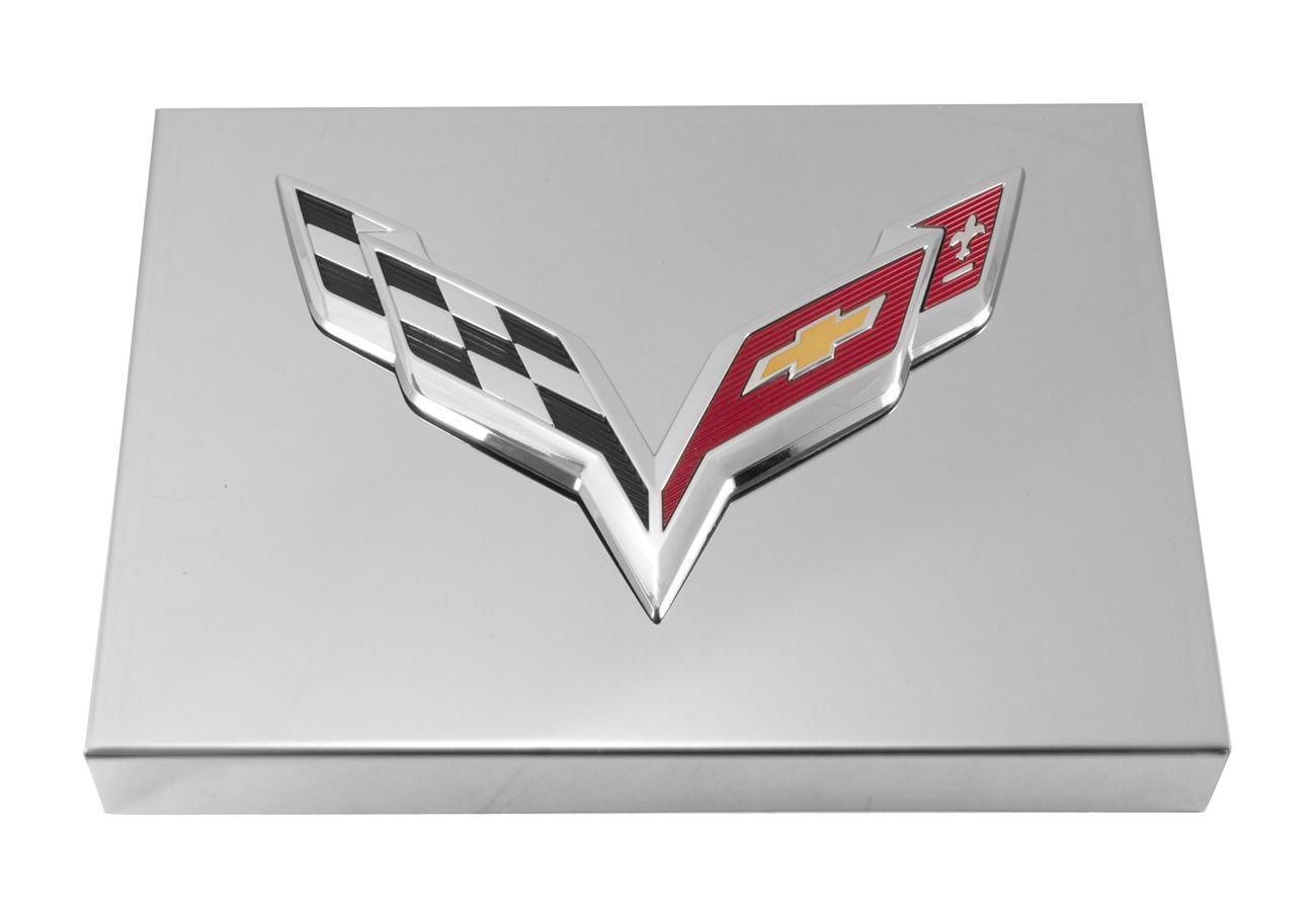 2014 C7 Corvette Polished Fuse Box Cover Chrome Flags Logo Automotive