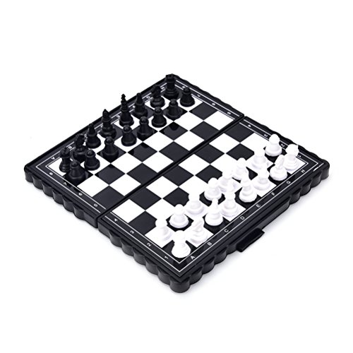 (VT BigHome 32 Pcs/set Magnetic Plastic Portable Folding Magnetic Travel Plastic Chess Board Set with Pieces Games Accessories)