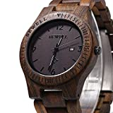 Bewell ZS-W086B Men Wooden Watch Waterproof Calendar Analog Quartz Movement Wristwatches, Ebony Wood Dial