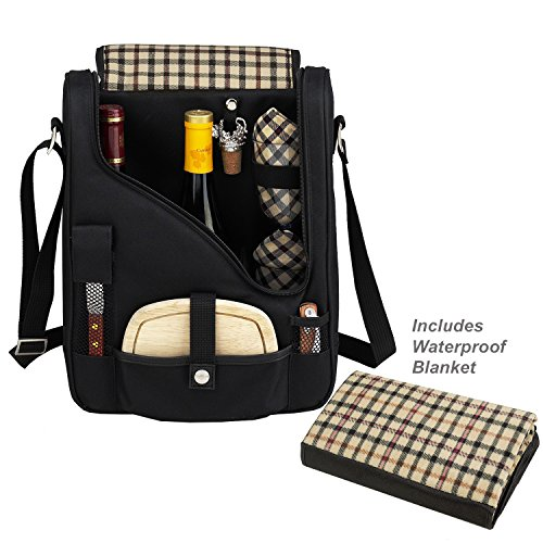 Picnic at Ascot Original Wine and Cheese Tote for 2 with Waterproof Matching Picnic Blanket - Designed & Assembled in California