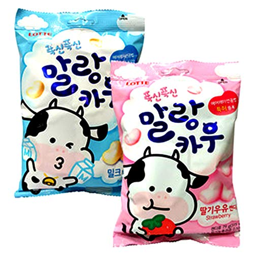 Korean Lotte Soft Malang Cow Fresh Grade Milk & Strawberry Milk Chewy Candy (Pack of 2) (2.78oz)