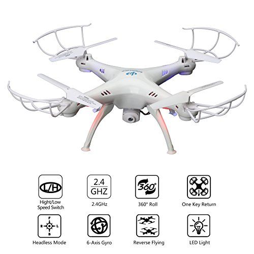 Sinochip Drone with Camera Quadcopter Easy Flight Control 2.4GHz 4 Channel 6 Axis Gyro Mini Drone Stable Landing Fast Response Remote Kid Toy (White)