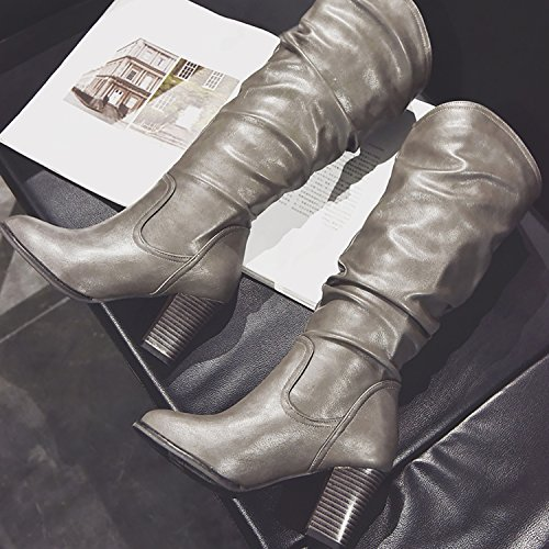 High Mid Chunky Odema Slouch Gray Riding Boots Heels Pu Block Women's Leather calf OwOqUFf
