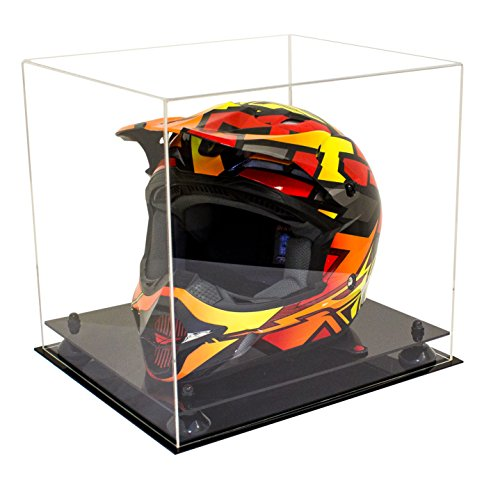 (Deluxe Clear Acrylic Motorcycle Motocross or Nascar Racing Helmet Display Case with Black Risers (A024-BR))