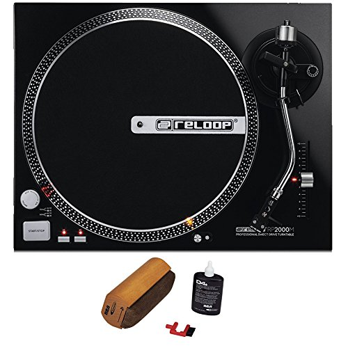 Reloop RP-2000-M DJ Turntable with Quartz Driven Direct Drive, Metallic Black RCA D4+ Vinyl Record Cleaning Fluid System