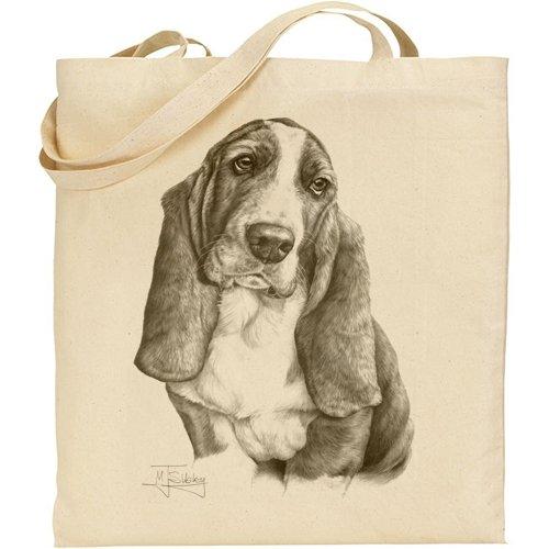 Mike Sibley Basset Hound Cotton Natural Bag (Shops Sofa Leeds)