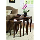 Coaster 901076 3 Piece Curved Leg Nesting Table Set, Brown