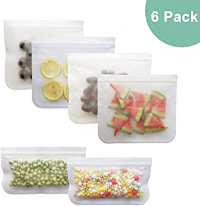 6 Pack Reusable Storage Bags, Silicone and Plastic Airtight Freezer Bags Ziplock (4 Sandwich Bags + 2 Snack Bags) BPA Ziplock Lunch Bag for Food Travel Storage Home Organization