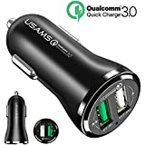 Car Charger, USAMS Quick Charge 3.0 3A+2.4A Dual USB Ports Car Charger Adapter for iPhone, iPad, Android Phones and Tablets (1 Pack)