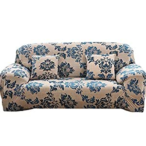 WATTA Stretch Elastic Sofa Slipcover 3 Seater Sofa Couch Polyester Spandex Provence Style Printing Fabric Sofa Protector