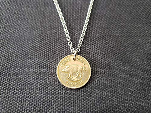 CoinageArt -Pig Necklace From Bermuda Domed Penny Dated 1988 on Adjustable Stainless Steel Chain With Jasper Gemstone Bermuda Pig Coin Necklace Boar Necklace 997