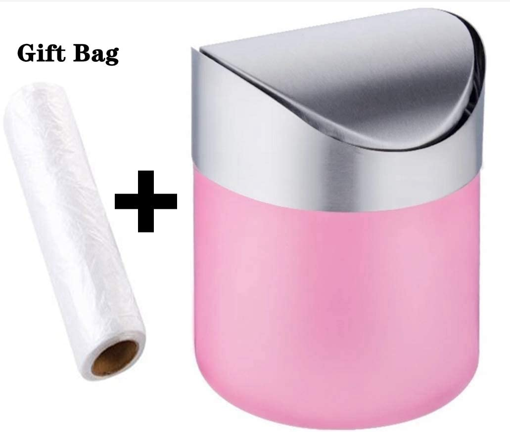 Mini Countertop Brushed Stainless Steel Swing Lid Trash Can Set, Come with Trash Bag, 1.5 L / 0.40 Gal, 3 Color Options, Pink