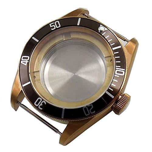 Corgeut 41mm Sapphire Glass Coffee Rotating Bezel 316L Stainless Steel Brass Coated Watch Case Fit ETA 2824 2836 ()