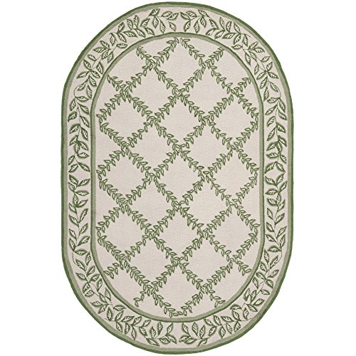 Chelsea Oval Rug (Safavieh Chelsea Collection HK230B Hand-Hooked Ivory and Light Green Premium Wool Oval Area Rug (4'6