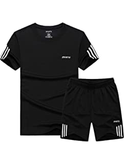5feef0b4e7e3 Lavnis Men s Casual Tracksuit T-Shirts and Shorts Running Jogging Athletic  Sports Set