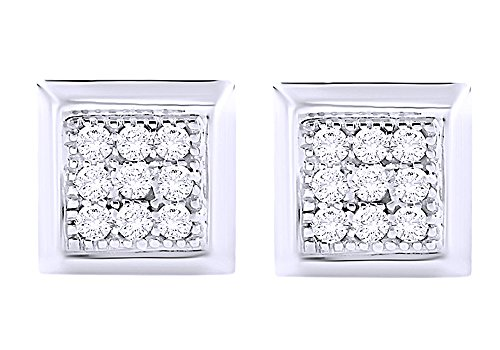 Round Cut White Natural Diamond Hip Hop Stud Earrings 14K Solid White Gold (0.13 Cttw) by Wishrocks